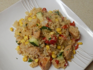 I made this delicious meal with both Italian flavored Chicken Sausage and Vegetable Sausage.