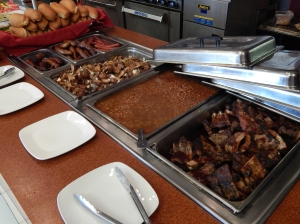 Johnny Mango's offered a gourmet hot dog bar, ribs and baked beans.