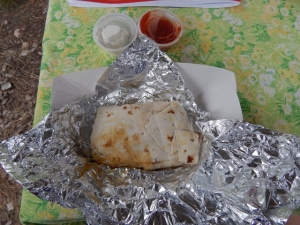 Breakfast burrito complete with salsa