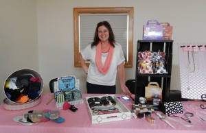 Kim Shea, owner of Camy Couture, set up shop at Denise's free yoga event!