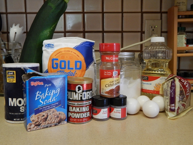 Basic ingredients for zucchini bread