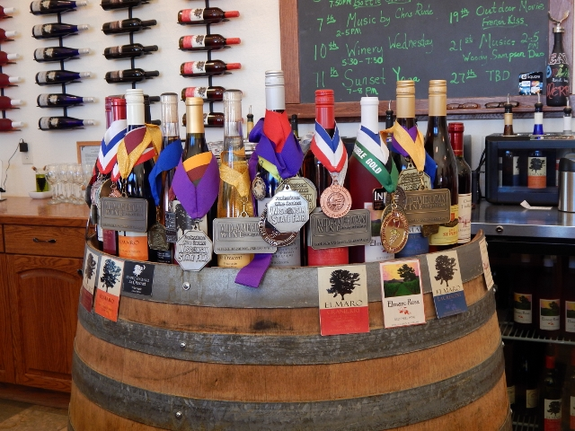 Award winning wines at Elmaro winery in Trempeleau, Wisconsin.
