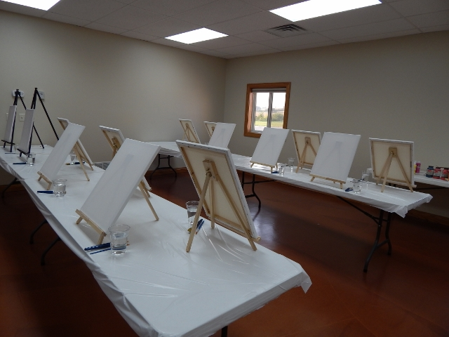 Everything is set up and we are ready for Wine & Canvas
