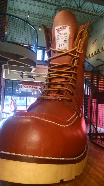 The largest boot in the world is at the Red Wing museum in Red Wing, Minnesota.