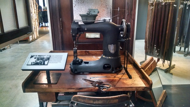 An industrial sewing machine at the Red Wing Boot museum.