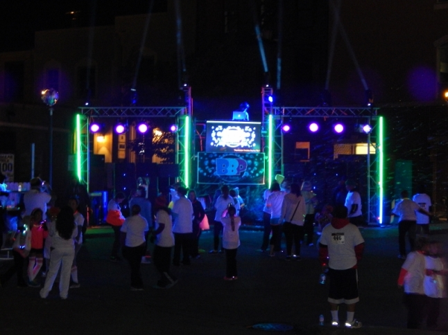 The finish line was at Legends Bar in Rochester Blacklight Bubble Party 5K
