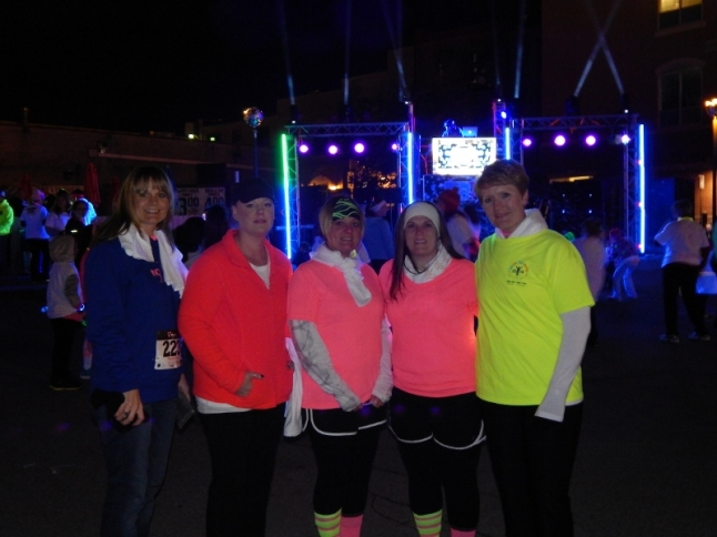 My friends and I at the Blacklight Bubble Party