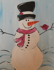 December Events Wine and Canvas Snowman