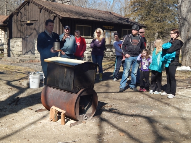 boiling the sap from the sugar maple tree