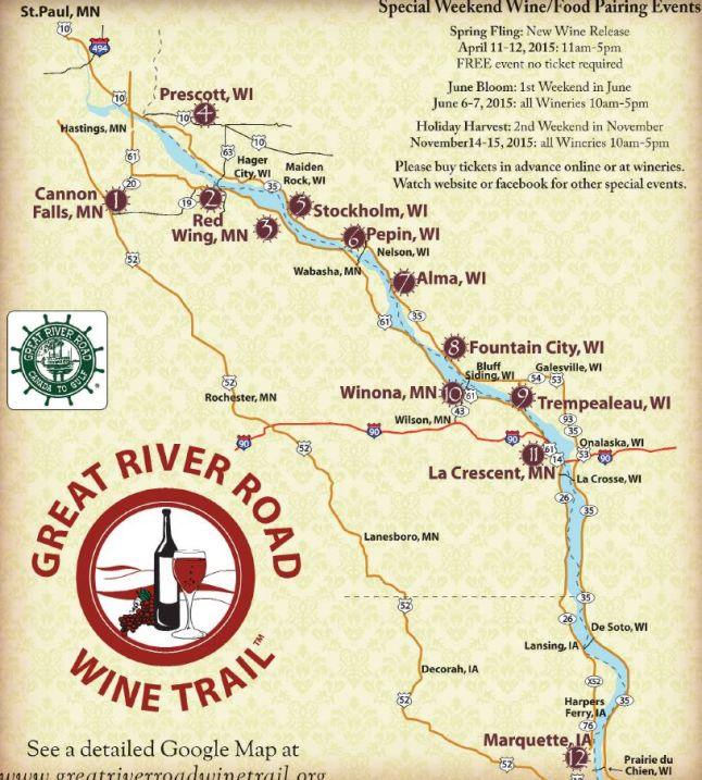 Great River Road Wine Trail Map