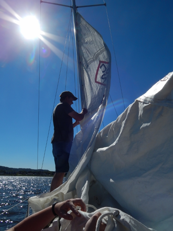 Putting up the sails.